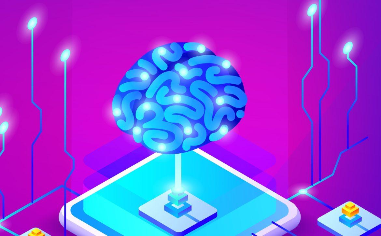 Artificial intelligence brain vector illustration
