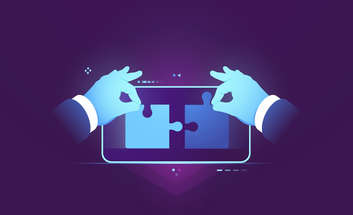 Mobile application testing, connection of two pieces of puzzle, ux ui design development concept, user experience and interface building for mobile application flat vector